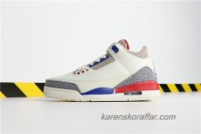 Herr Air Jordan III Retro AJ3 International Flight 136064-140 Grå/Beige/Blå/Röd skor