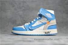 Off-White x Air Jordan I Retro High UNC AQ0818-148 Blå/Vit/Sand skor