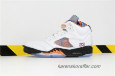 Herr Air Jordan V Retro AJ5 International Flight 136027-148 Vit/Svart/Orange/Blå skor