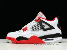 Herr Air Jordan IV Retro AJ4 Fire Red 308497-110 Vit/Svart/Röd skor