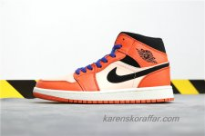 Air Jordan I Retro MID AJ1 BQ6931-800 Orange/Ljusrosa/Svart skor