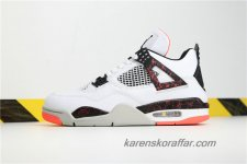 Herr Air Jordan IV Retro AJ4 Pale Citron 308497-116 Vit/Svart/Orange skor