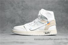 Off-White x Air Jordan I Retro High AJ1 AQ0818-100 Vit/Sand skor